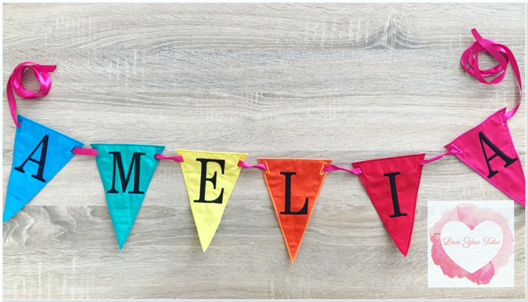 Embroidered Personalised flag bunting