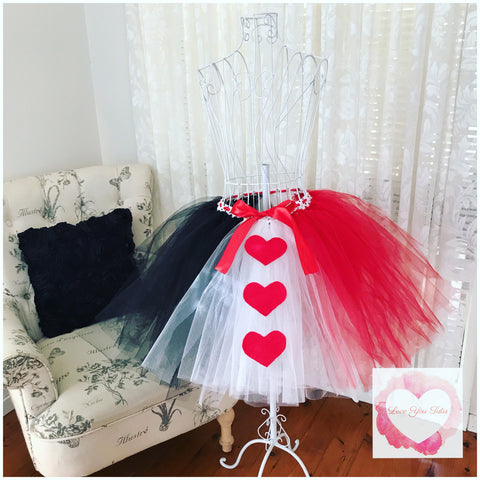 Queen of hearts 3/4 length Tutu skirt