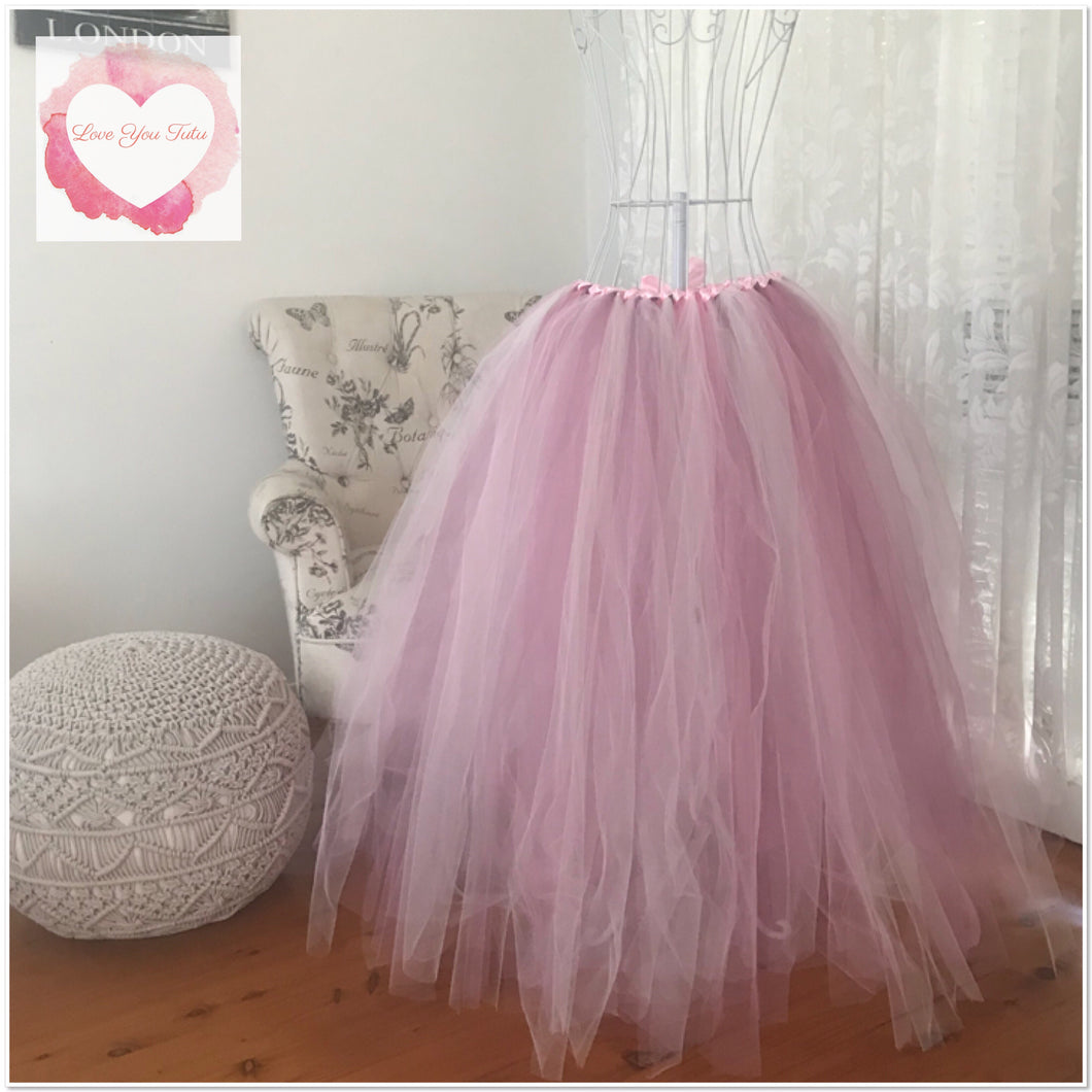 Full length baby pink, mauve, dusty pink & ivory adult/maternity Tutu skirt