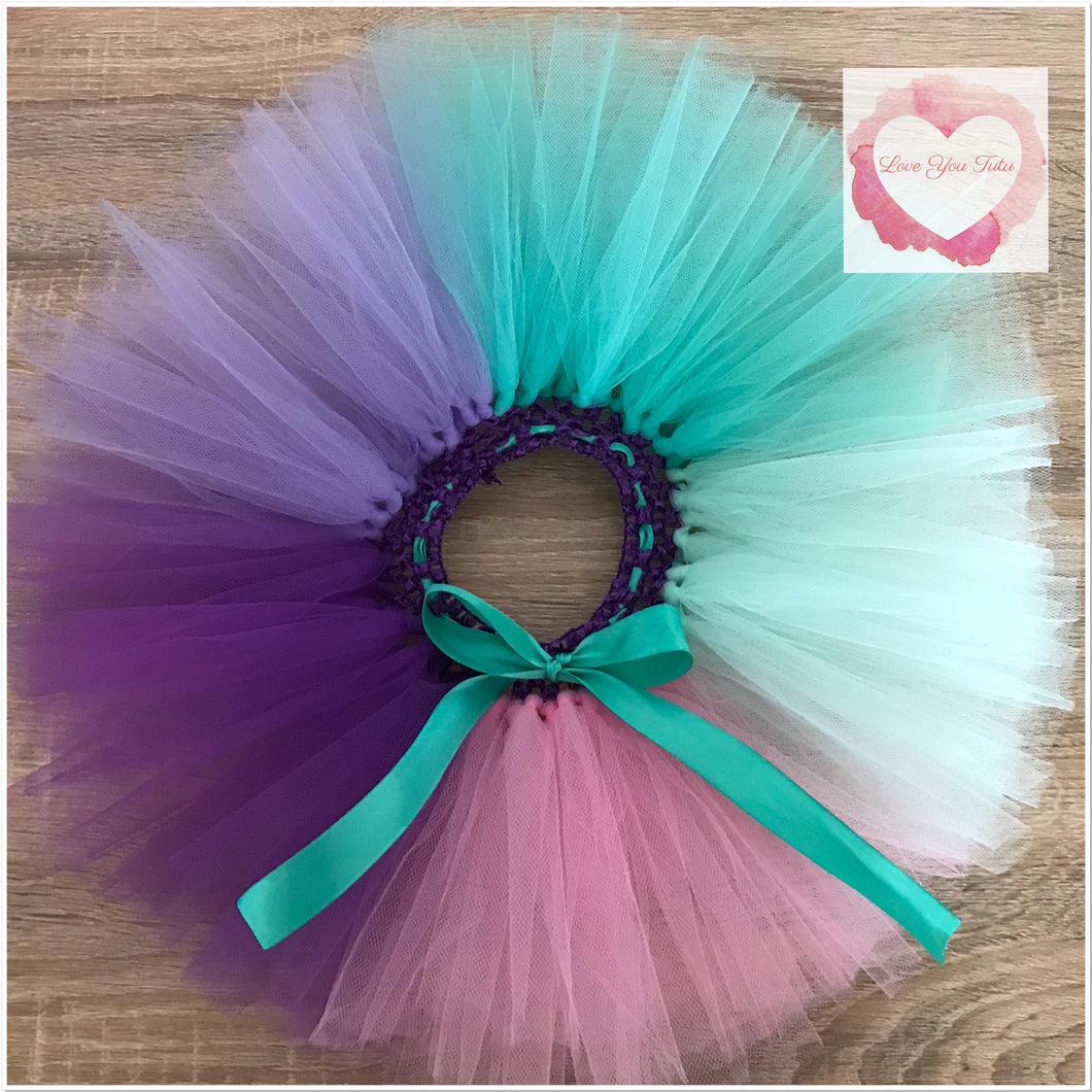 Pink, mint, dark mint, purple & lavender colour block short Tutu skirt
