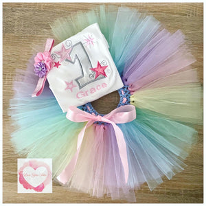 Embroidered pastel star tutu set