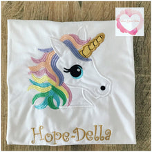 Load image into Gallery viewer, Embroidered pastel unicorn design