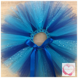 Royal blue, turquoise and sequin short Tutu skirt