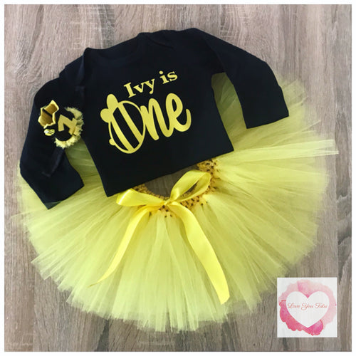 Bumble bee personalised tutu set