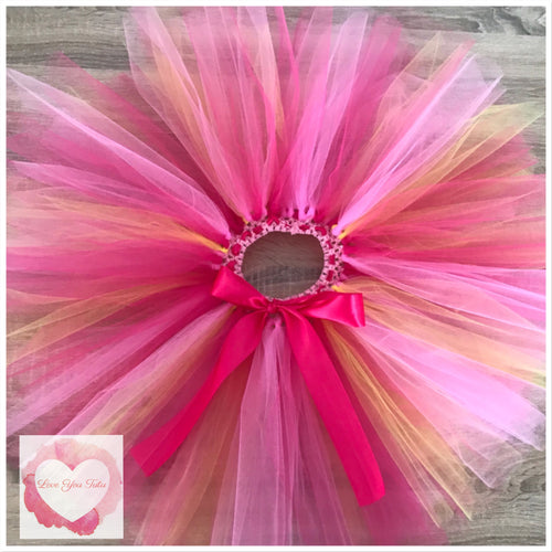 Pink, Fuchsia & yellow short tutu skirt