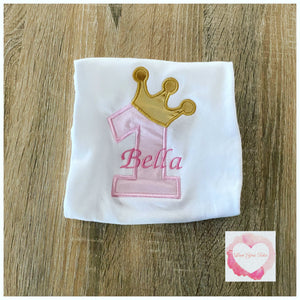 Embroidered Princess numbered crown desgin