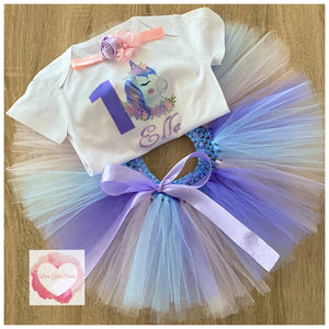 Unicorn personalised printed tutu set