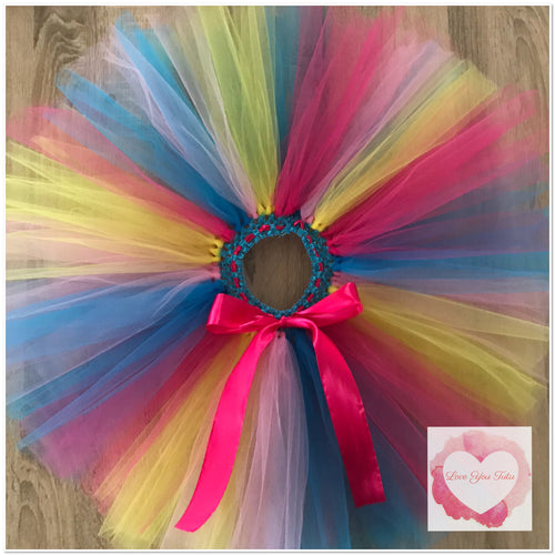 Fuchsia, pink, yellow & turquoise short Tutu skirt