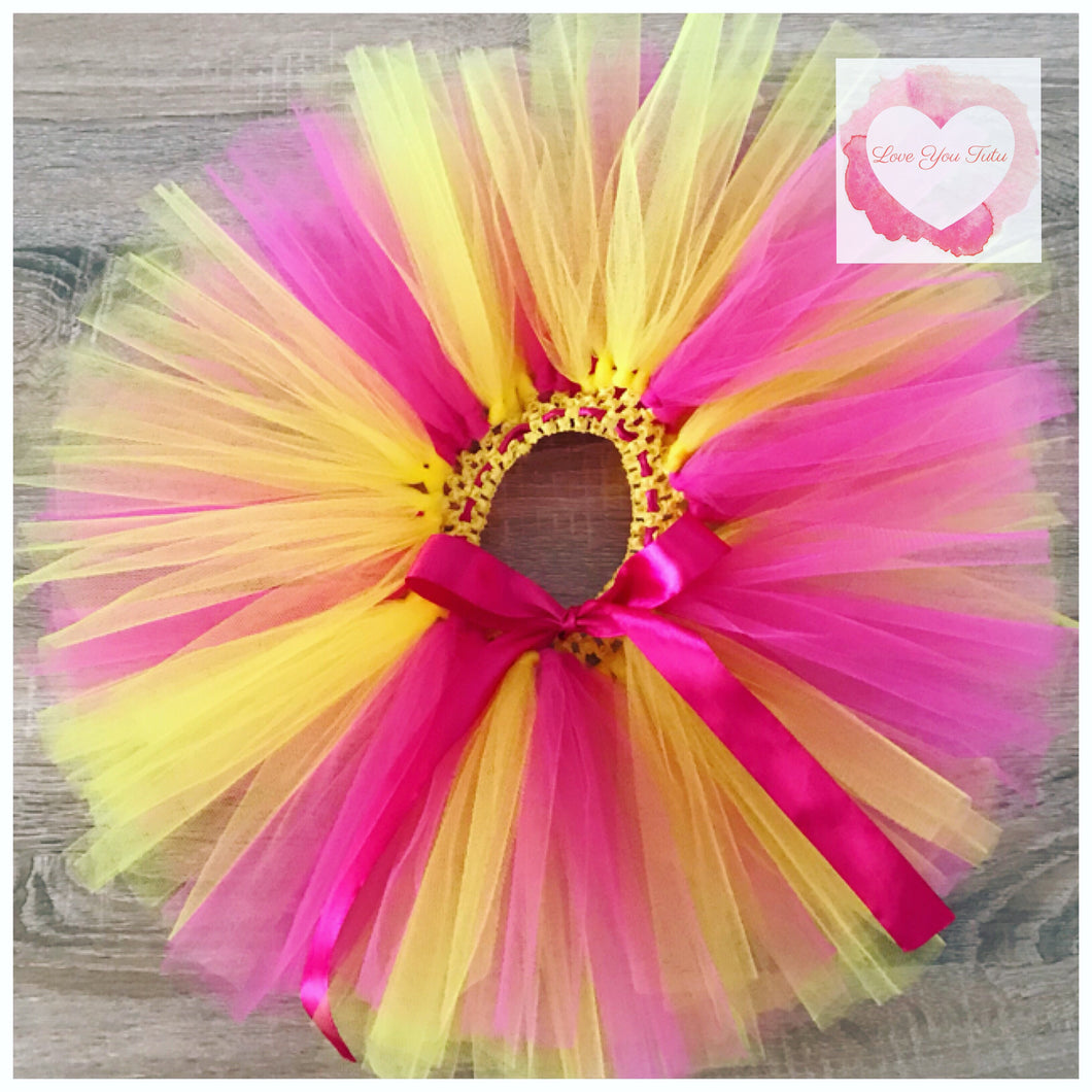 Fuchsia &yellow short tutu skirt