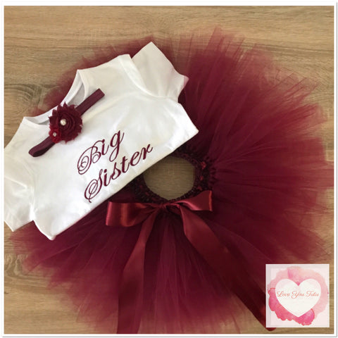 Embroidered big sister tutu set