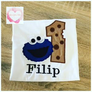 Embroidered Cookie Monster numbered design