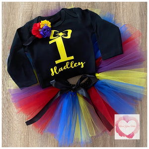 Yellow bow on black rainbow tutu set