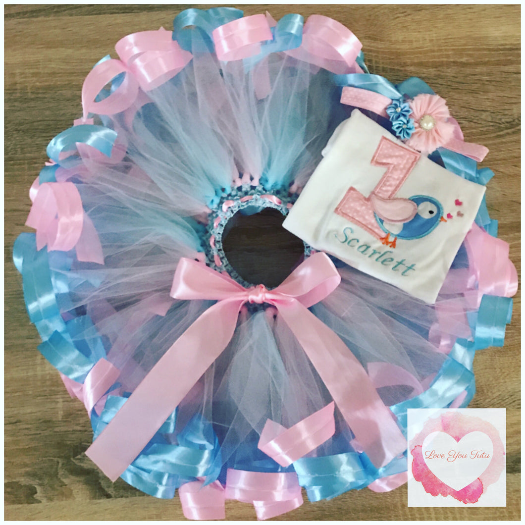 Embroidered ribbon trimmed birdie tutu set