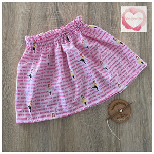 Pink Ballerina paperbag skirt- size 1-2 years -ready to ship