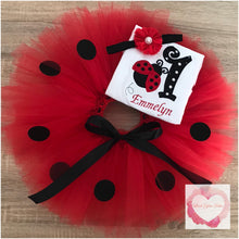 Load image into Gallery viewer, Embroidered ladybug tutu set