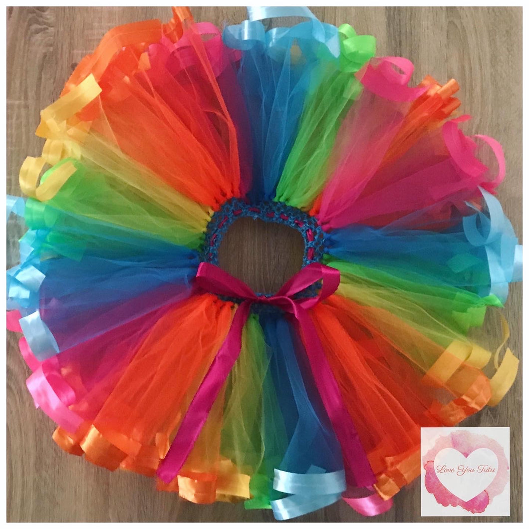 Jojo rainbow Ribbon trimmed short Tutu skirt