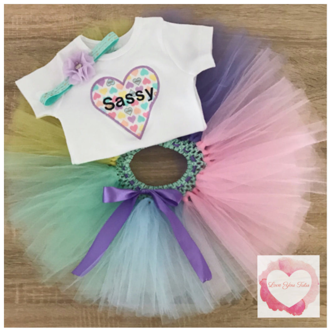 Embroidered sassy tutu set