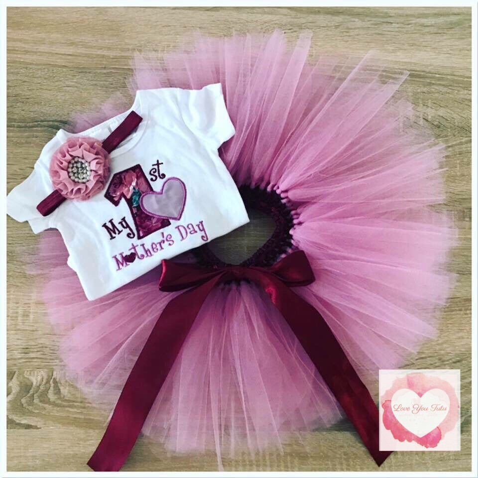 Embroidered 1st Mother's Day tutu set