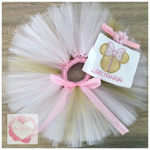 Embroidered Minnie head gold tutu set