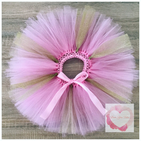 Pink and gold short Tutu skirt