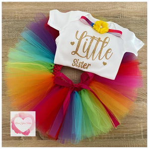 Rainbow Little sister tutu set