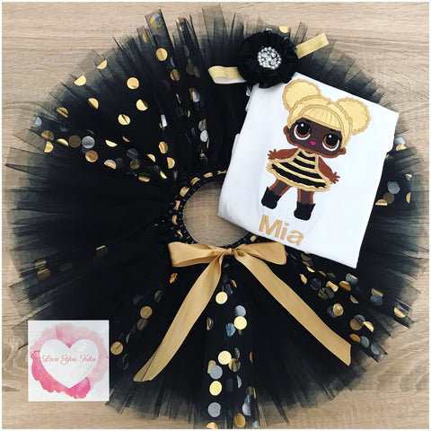 Embroidered LOL doll Queen B tutu set