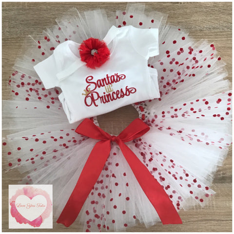 Embroidered Santa's princess tutu set