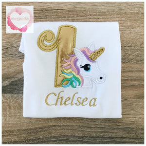 Embroidered pastel unicorn design