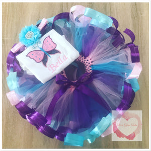Embroidered Ribbon trimmed butterfly set tutu set