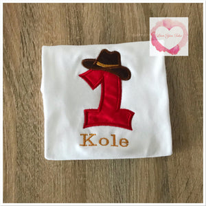 Embroidered cowboy/cowgirl design