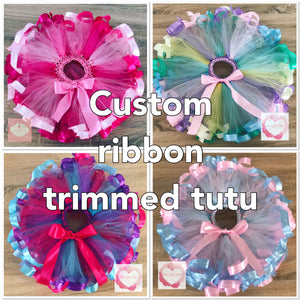 *Custom Ribbon trimmed short Tutu skirt