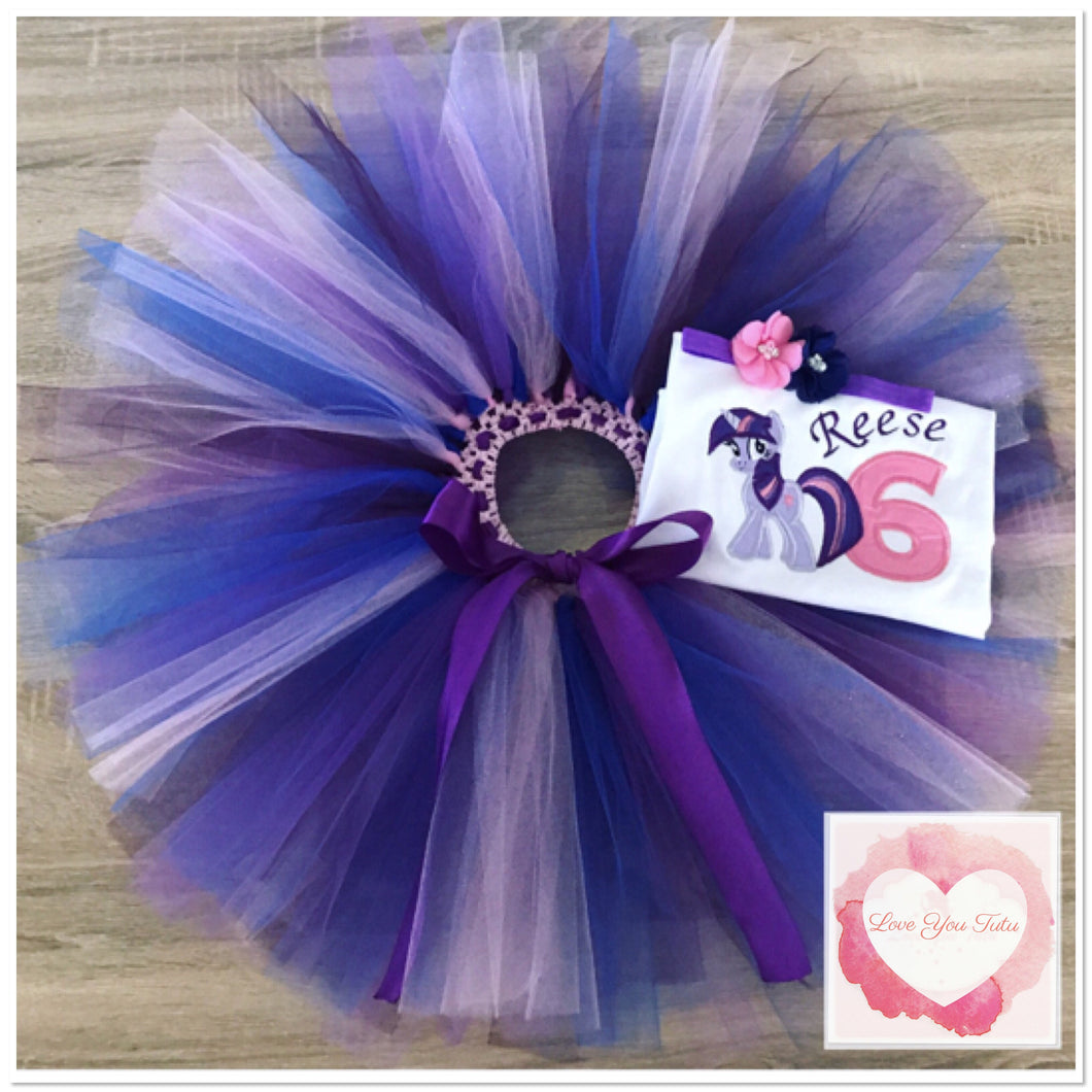 Embroidered My Little Pony twilight sparkle tutu set