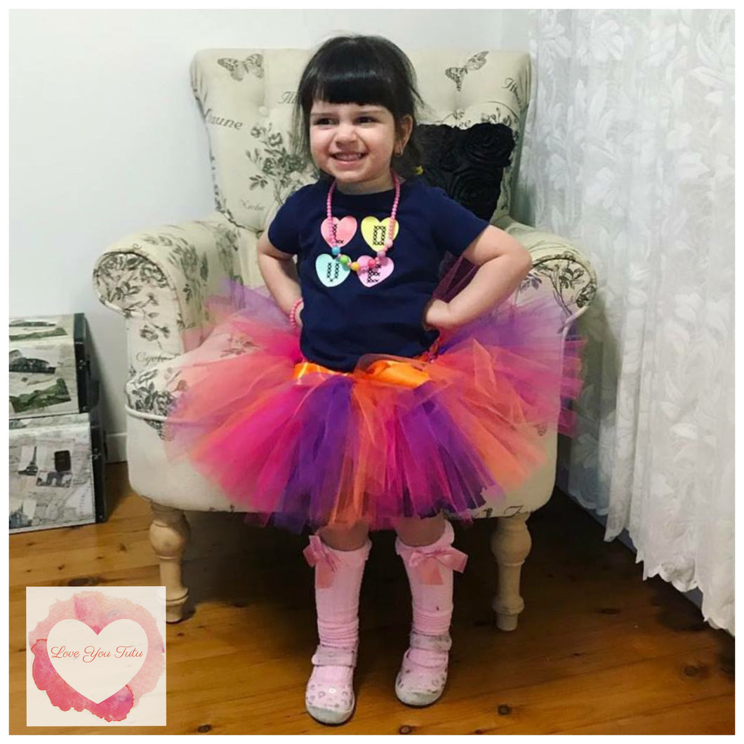 Orange, purple & fuchsia short Tutu skirt