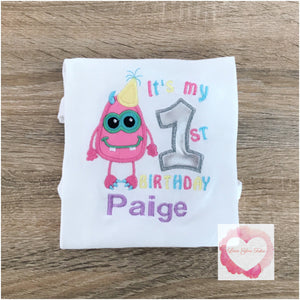Embroidered Monster 1st Birthday design