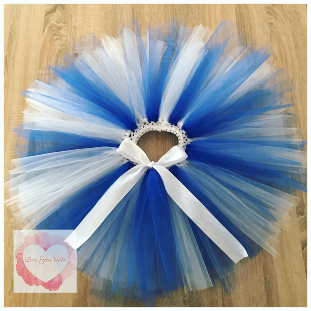 Royal blue & white short tutu skirt