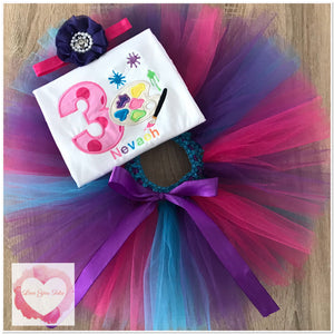 Embroidered Paint numbered tutu set