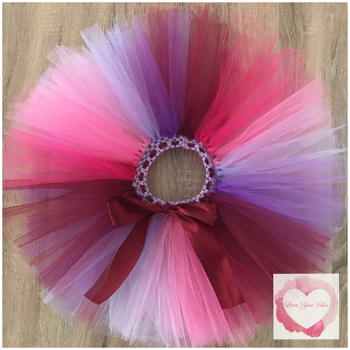 Fuchsia, shocking pink, pink, burgundy, purple & lavender short Tutu skirt