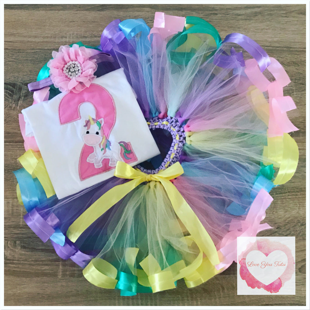 Embroidered Ribbon trimmed unicorn set tutu set