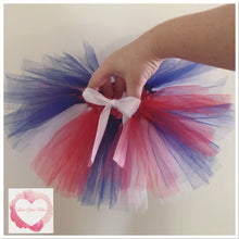 Load image into Gallery viewer, Red white & blue short tutu skirt