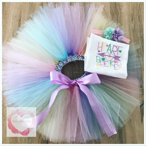 Embroidered Heart breaker tutu set