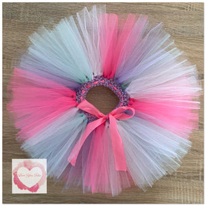 Tiffany, white, lavender & shocking pink short Tutu skirt