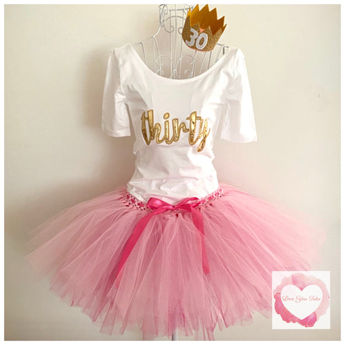 Adult Pink & fuchsia embroidered birthday tutu set