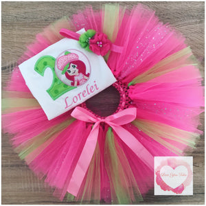 Embroidered Strawberry shortcake tutu set