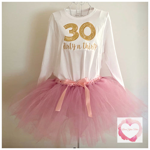 Adult dusty pink embroidered birthday tutu set