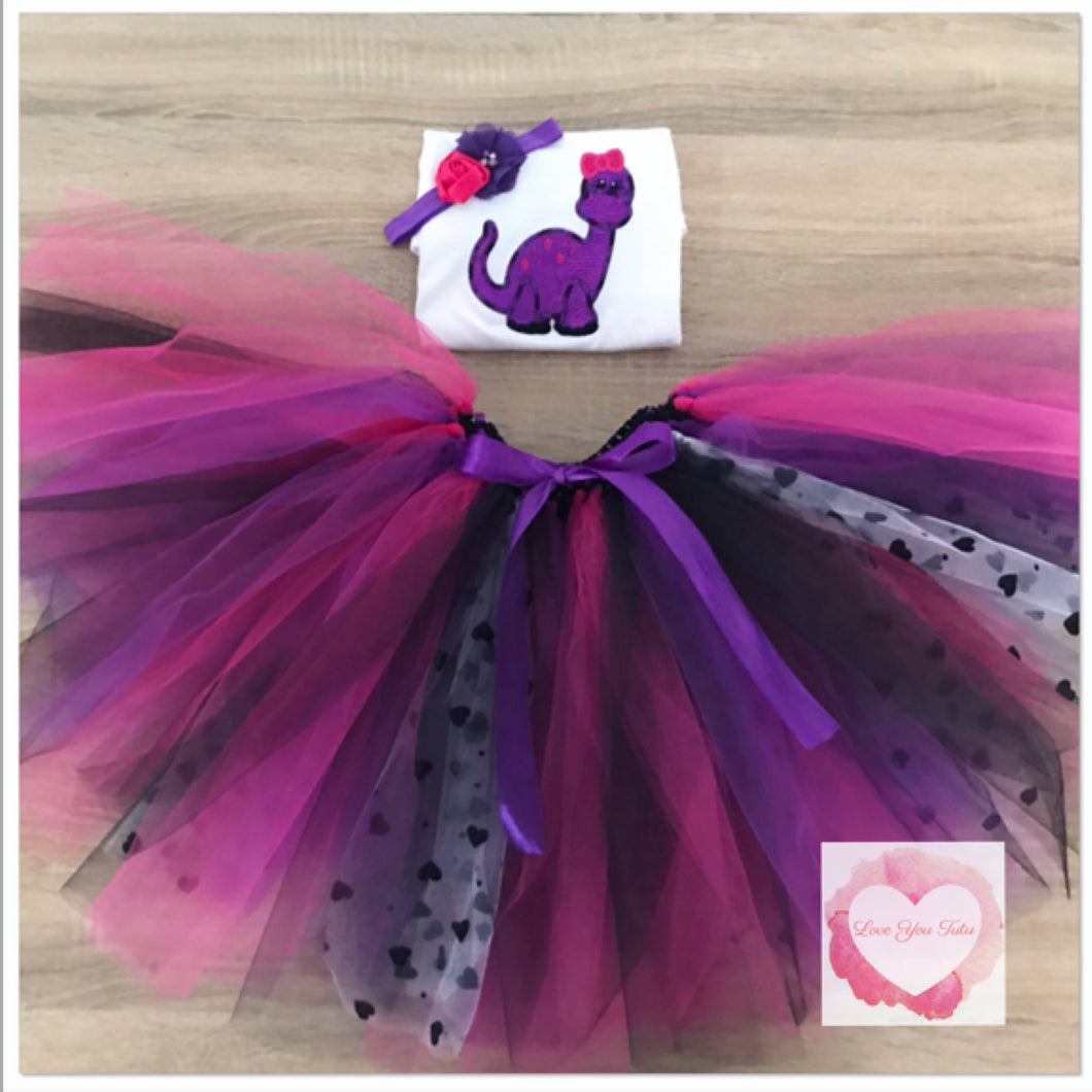 Embroidered dinosaur tutu set