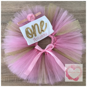Embroidered one pink & gold glitter tutu set