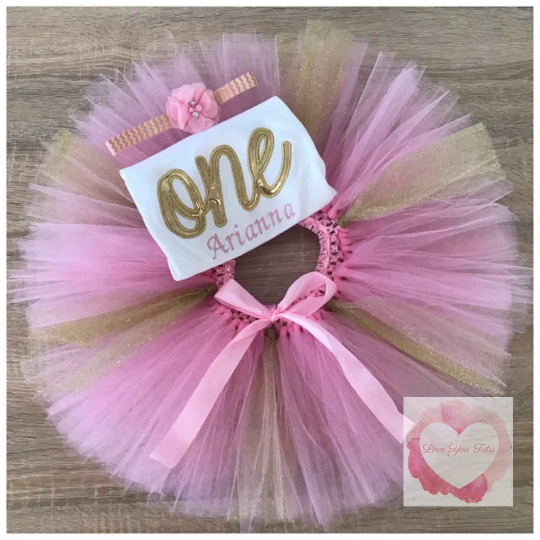 Embroidered one glitter tutu set