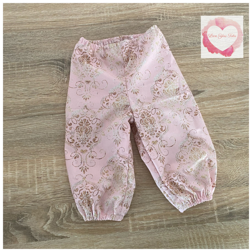 Pink damask harem pants size 0-ready to ship