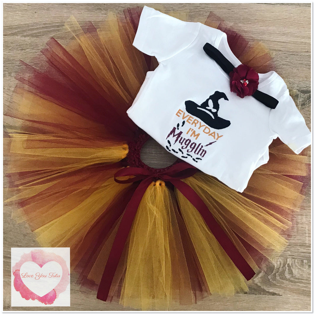 Embroidered Harry Potter mugglin tutu set