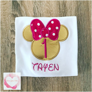 Embroidered Minnie Mouse head gold & fuchsia design